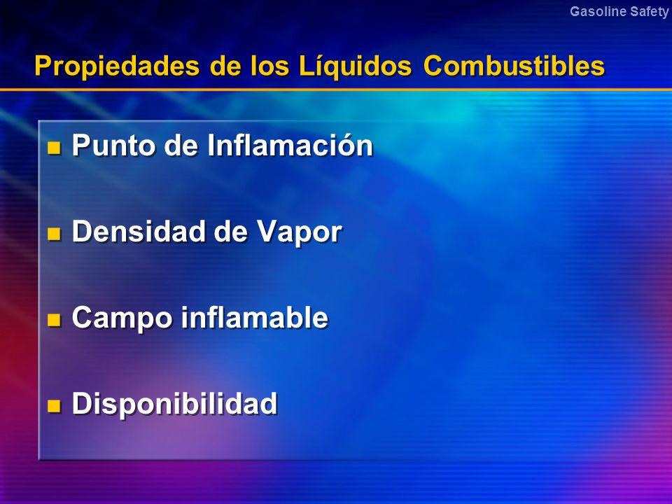 Gasoline Safety Propiedades de los Líquidos Combustibles Punto de Inflamación Densidad de Vapor Campo inflamable Disponibilidad Punto de Inflamación D