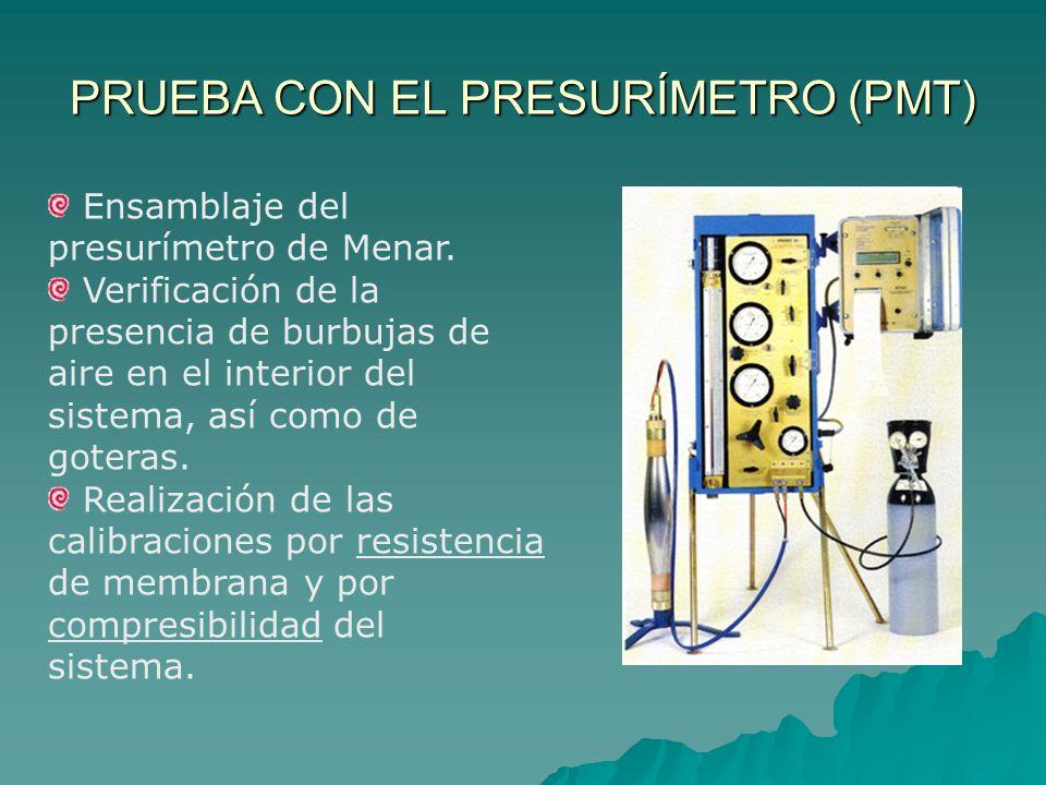 PRUEBA CON EL PRESURÍMETRO (PMT) Para realizar el ensayo se deben seguir los siguientes pasos: Realización de la perforación.