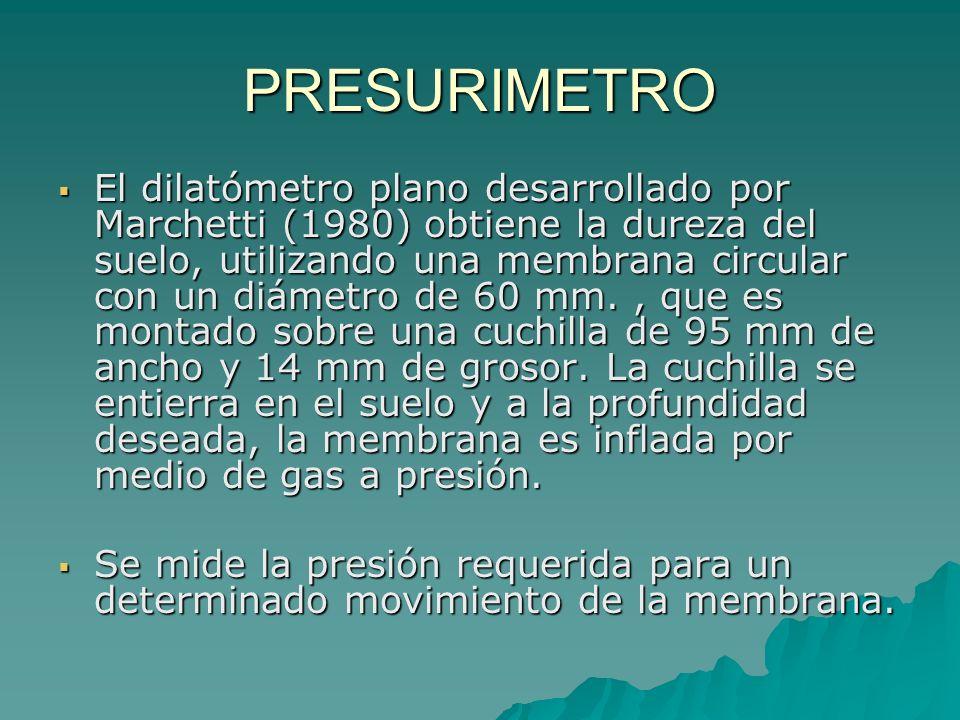 PRESURIMETRO Una gran cantidad de equipos se ha desarrollado para medir la deformación interna del suelo al aplicar una determinada presión. Por lo ge