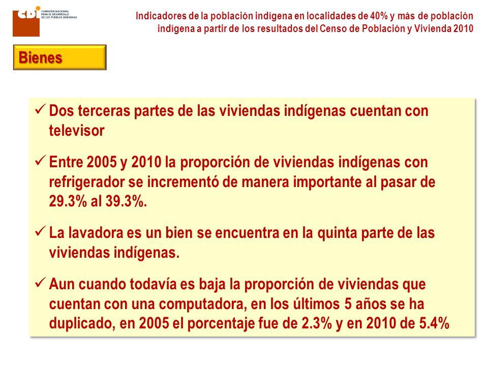 Indicadores de la población indígena en localidades de 40% y más de población indígena a partir de los resultados del Censo de Población y Vivienda 20