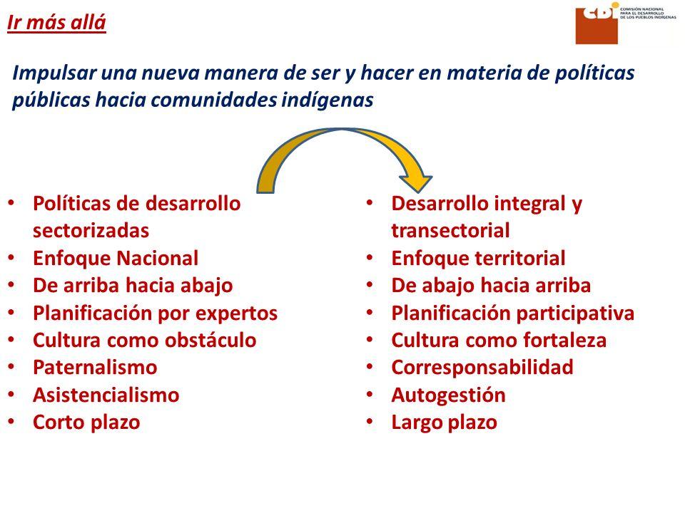 Impulsar una nueva manera de ser y hacer en materia de políticas públicas hacia comunidades indígenas Políticas de desarrollo sectorizadas Enfoque Nac