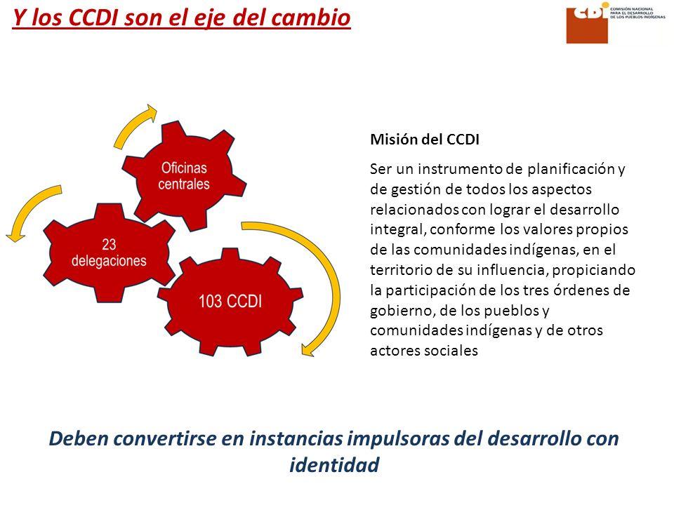 Y los CCDI son el eje del cambio Deben convertirse en instancias impulsoras del desarrollo con identidad Misión del CCDI Ser un instrumento de planifi