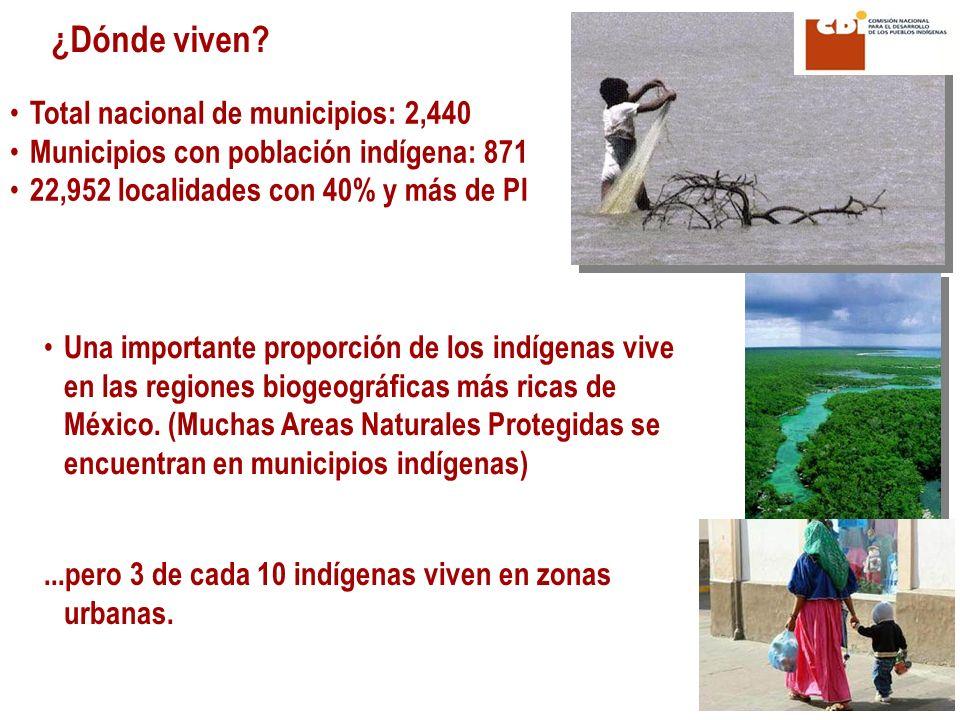 ...pero 3 de cada 10 indígenas viven en zonas urbanas. ¿Dónde viven? Total nacional de municipios: 2,440 Municipios con población indígena: 871 22,952