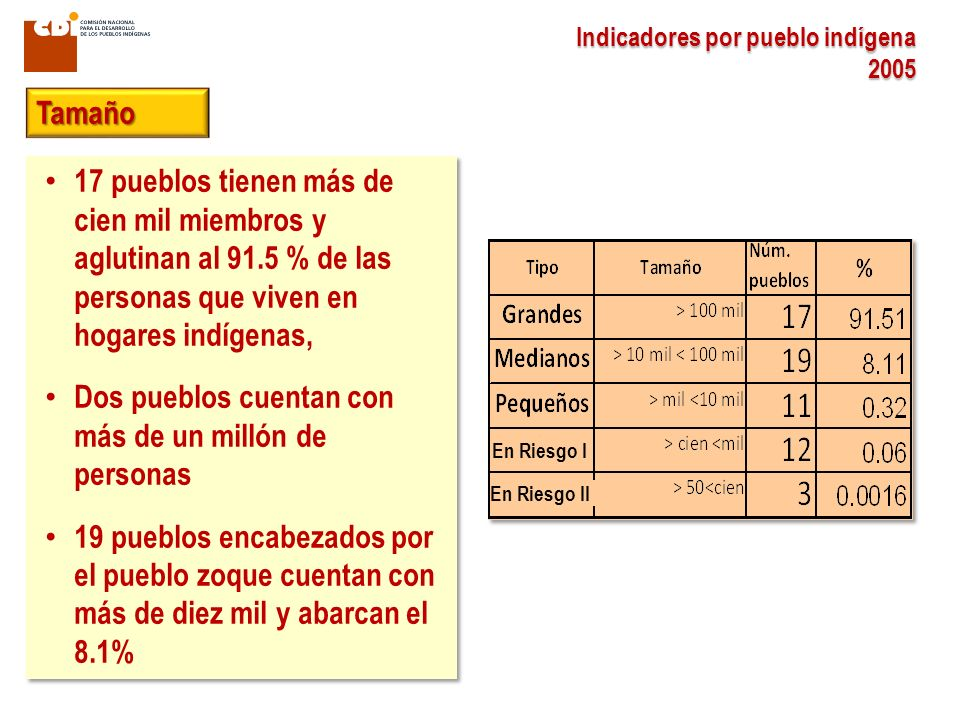 17 pueblos tienen más de cien mil miembros y aglutinan al 91.5 % de las personas que viven en hogares indígenas, Dos pueblos cuentan con más de un millón de personas 19 pueblos encabezados por el pueblo zoque cuentan con más de diez mil y abarcan el 8.1% 17 pueblos tienen más de cien mil miembros y aglutinan al 91.5 % de las personas que viven en hogares indígenas, Dos pueblos cuentan con más de un millón de personas 19 pueblos encabezados por el pueblo zoque cuentan con más de diez mil y abarcan el 8.1% Indicadores por pueblo indígena 2005 Tamaño