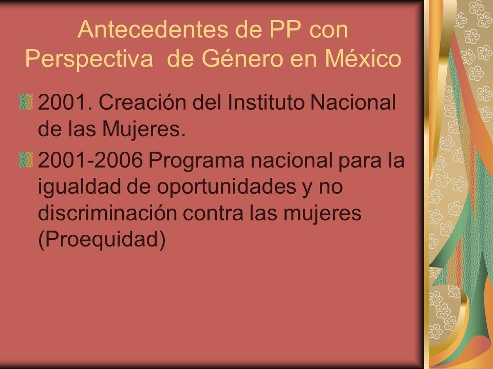 Antecedentes de PP con Perspectiva de Género en México 2001. Creación del Instituto Nacional de las Mujeres. 2001-2006 Programa nacional para la igual