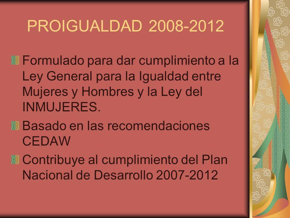 PROIGUALDAD 2008-2012 Formulado para dar cumplimiento a la Ley General para la Igualdad entre Mujeres y Hombres y la Ley del INMUJERES. Basado en las
