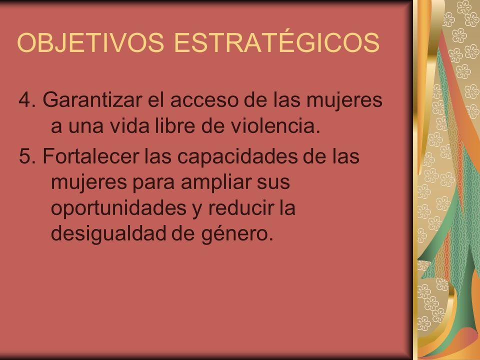 OBJETIVOS ESTRATÉGICOS 4. Garantizar el acceso de las mujeres a una vida libre de violencia. 5. Fortalecer las capacidades de las mujeres para ampliar