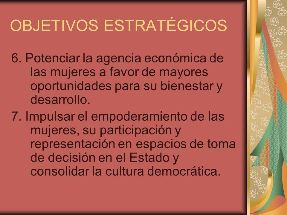 OBJETIVOS ESTRATÉGICOS 6. Potenciar la agencia económica de las mujeres a favor de mayores oportunidades para su bienestar y desarrollo. 7. Impulsar e