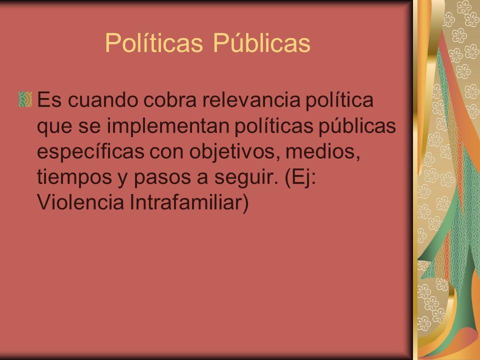 Políticas Públicas Es cuando cobra relevancia política que se implementan políticas públicas específicas con objetivos, medios, tiempos y pasos a segu