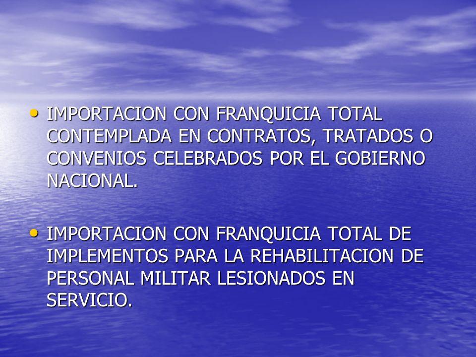IMPORTACION CON FRANQUICIA TOTAL CONTEMPLADA EN CONTRATOS, TRATADOS O CONVENIOS CELEBRADOS POR EL GOBIERNO NACIONAL. IMPORTACION CON FRANQUICIA TOTAL