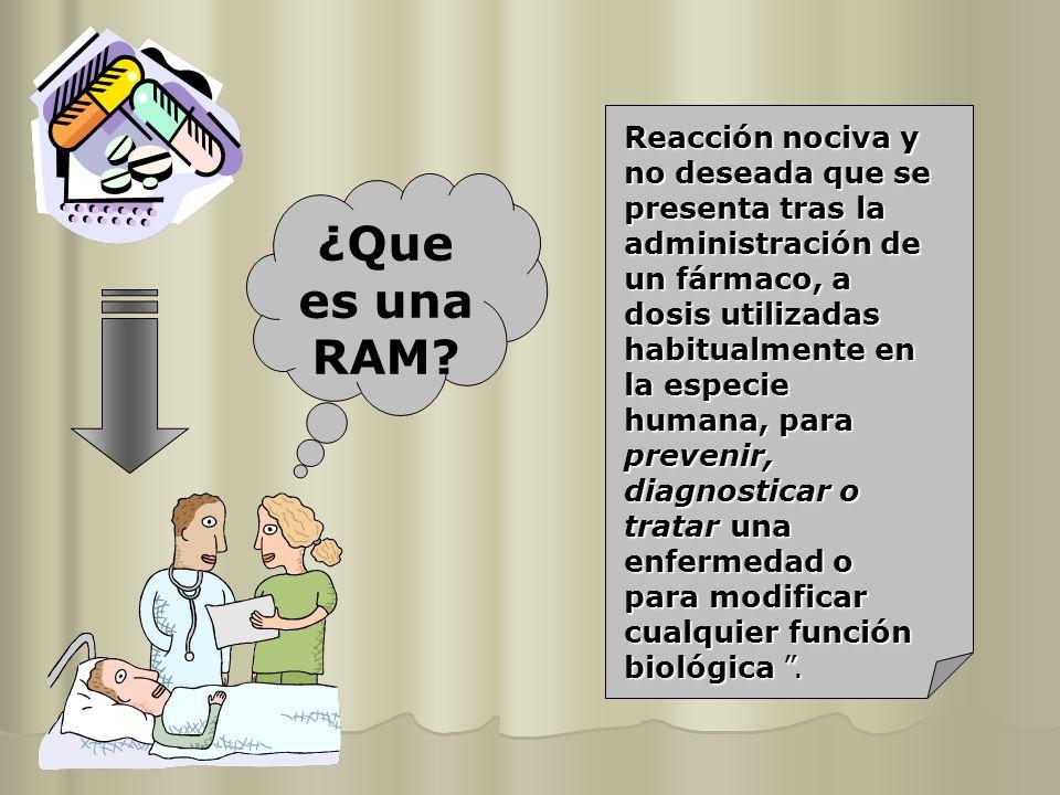 ¿Que es una RAM? Reacción nociva y no deseada que se presenta tras la administración de un fármaco, a dosis utilizadas habitualmente en la especie hum