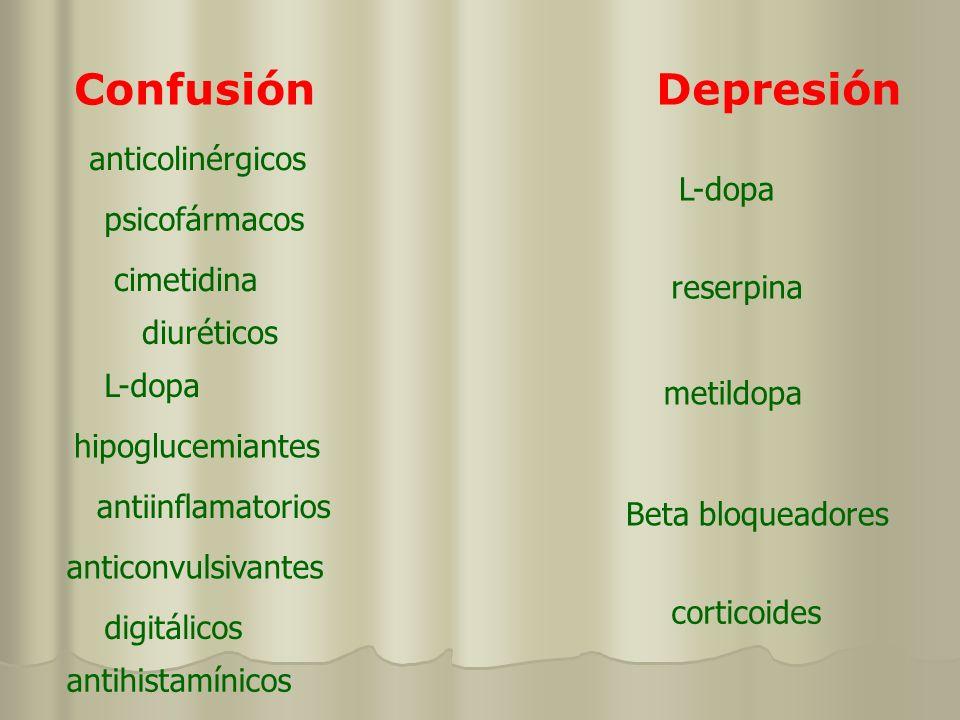 ConfusiónDepresión anticolinérgicos psicofármacos hipoglucemiantes anticonvulsivantes cimetidina digitálicos antihistamínicos antiinflamatorios L-dopa