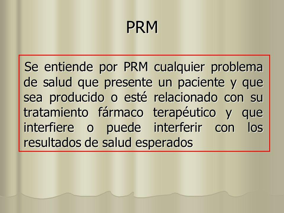 PRM Se entiende por PRM cualquier problema de salud que presente un paciente y que sea producido o esté relacionado con su tratamiento fármaco terapéu