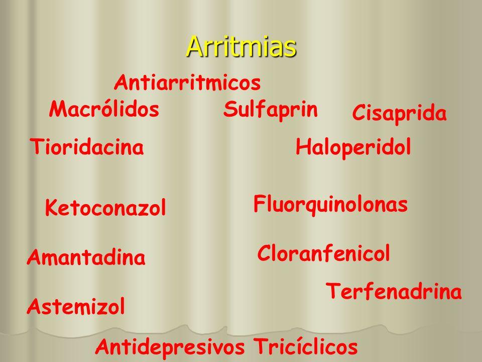 Arritmias Antiarritmicos MacrólidosSulfaprin Ketoconazol Cloranfenicol Amantadina Fluorquinolonas Astemizol Terfenadrina Cisaprida Haloperidol Antidep