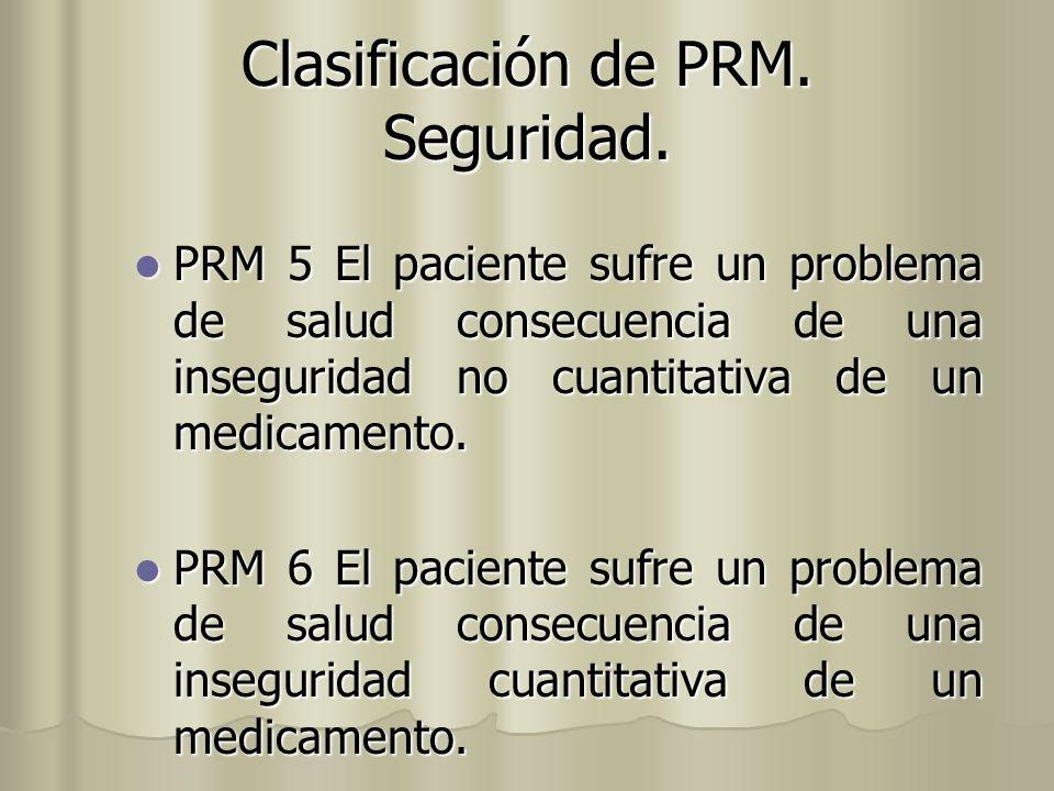 Clasificación de PRM. Seguridad. PRM 5 El paciente sufre un problema de salud consecuencia de una inseguridad no cuantitativa de un medicamento. PRM 5