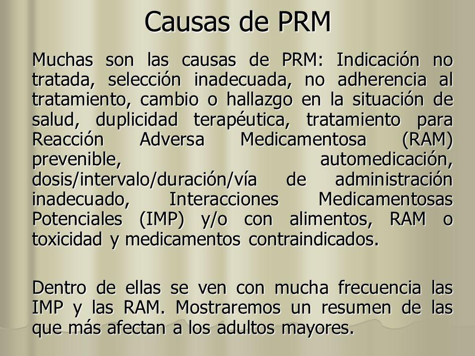 Causas de PRM Muchas son las causas de PRM: Indicación no tratada, selección inadecuada, no adherencia al tratamiento, cambio o hallazgo en la situaci