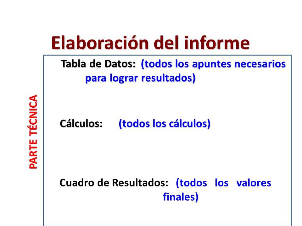 PARTE TÉCNICA Cálculos: Cuadro de Resultados: Tabla de Datos: Elaboración del informe (todos los apuntes necesarios para lograr resultados) (todos los apuntes necesarios para lograr resultados) (todos los cálculos) (todos los valores finales)