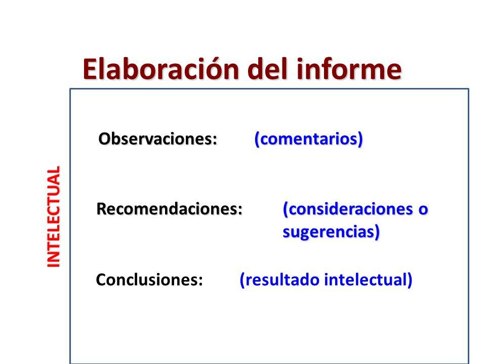 INTELECTUAL Recomendaciones: Conclusiones: Observaciones: Elaboración del informe (comentarios) (consideraciones o sugerencias) (resultado intelectual)