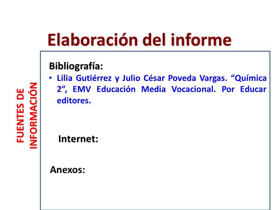 FUENTES DE INFORMACIÓN Internet: Anexos: Bibliografía: Elaboración del informe Lilia Gutiérrez y Julio César Poveda Vargas.