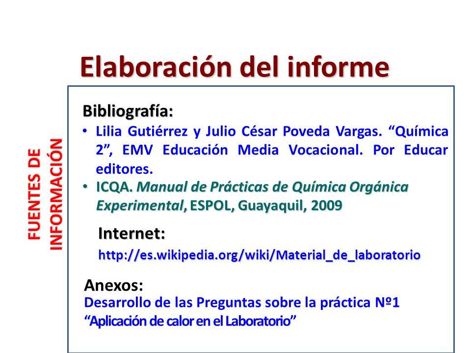 FUENTES DE INFORMACIÓN Internet: Anexos: Bibliografía: Elaboración del informe ICQA.