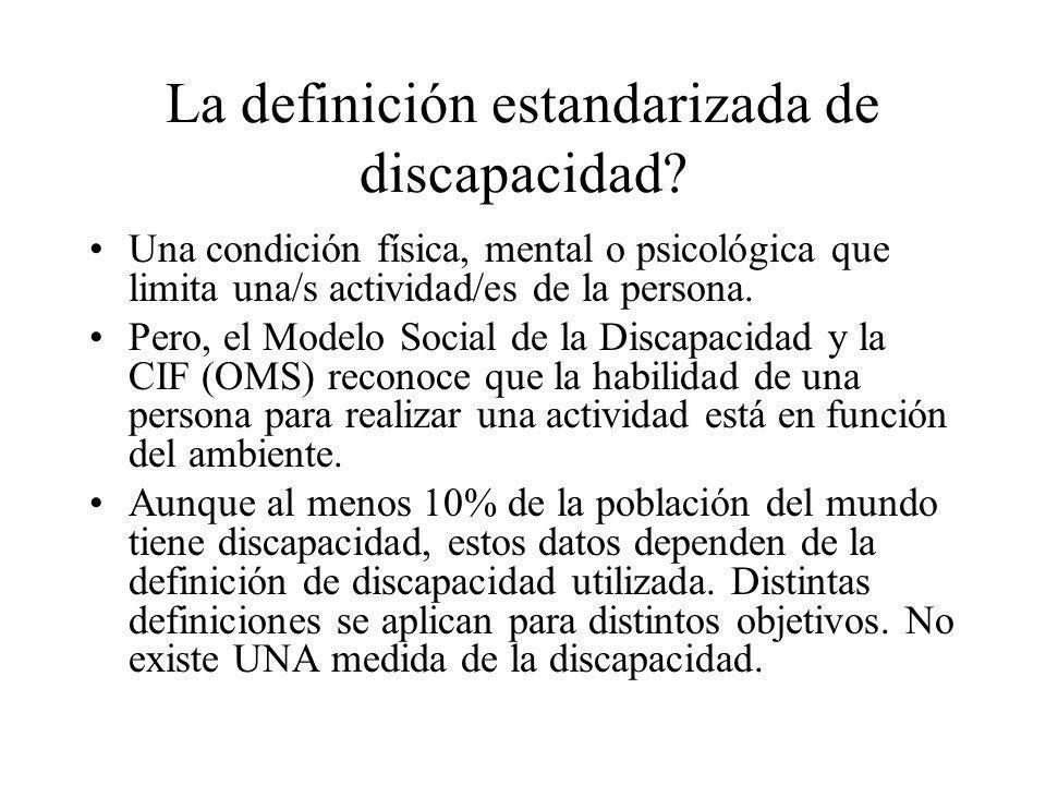 La definición estandarizada de discapacidad? Una condición física, mental o psicológica que limita una/s actividad/es de la persona. Pero, el Modelo S