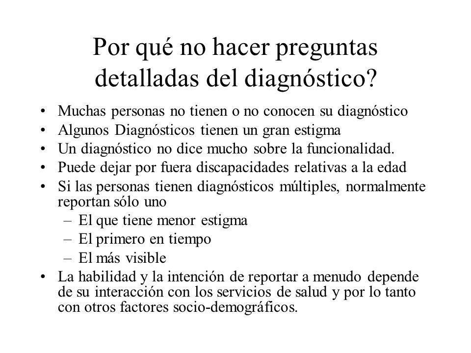 Por qué no hacer preguntas detalladas del diagnóstico? Muchas personas no tienen o no conocen su diagnóstico Algunos Diagnósticos tienen un gran estig