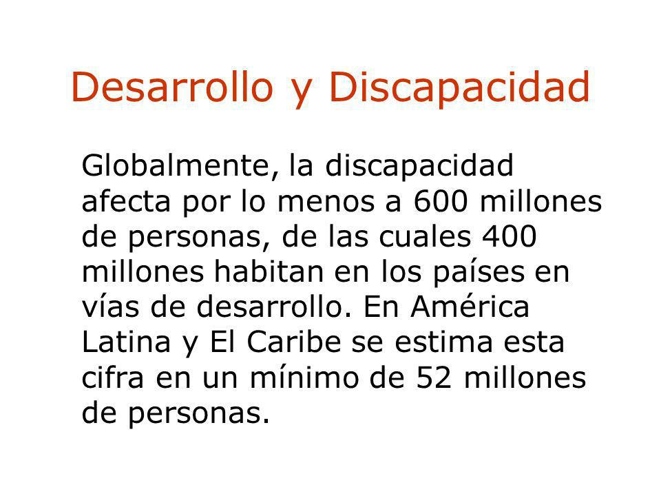Desarrollo y Discapacidad Globalmente, la discapacidad afecta por lo menos a 600 millones de personas, de las cuales 400 millones habitan en los paíse