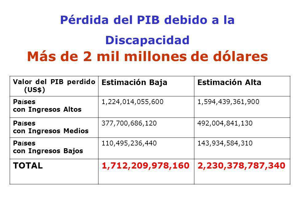Pérdida del PIB debido a la Discapacidad Más de 2 mil millones de dólares Valor del PIB perdido (US$) Estimación BajaEstimación Alta Pa í ses con Ingr
