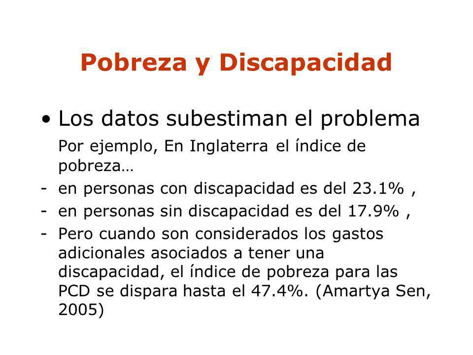 Pobreza y Discapacidad Los datos subestiman el problema Por ejemplo, En Inglaterra el índice de pobreza… -en personas con discapacidad es del 23.1%, -
