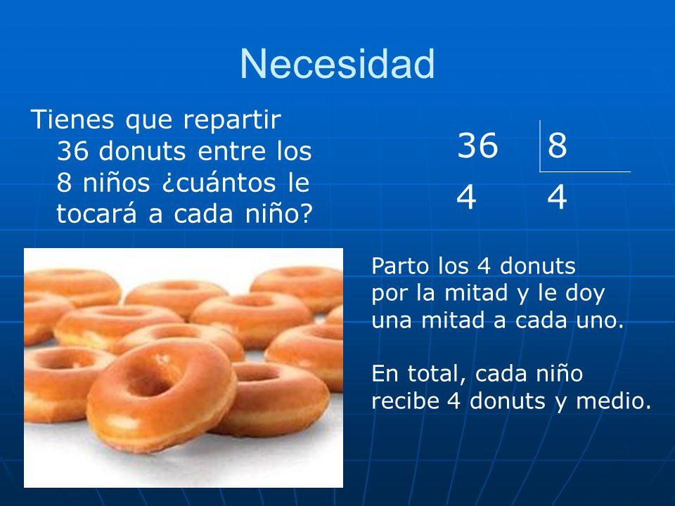 Necesidad Tienes que repartir 36 donuts entre los 8 niños ¿cuántos le tocará a cada niño? 368 44 Parto los 4 donuts por la mitad y le doy una mitad a