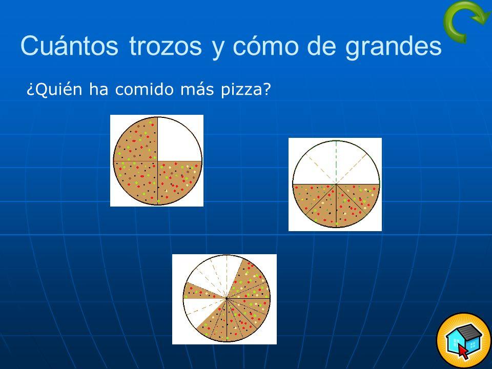 Cuántos trozos y cómo de grandes ¿Quién ha comido más pizza?