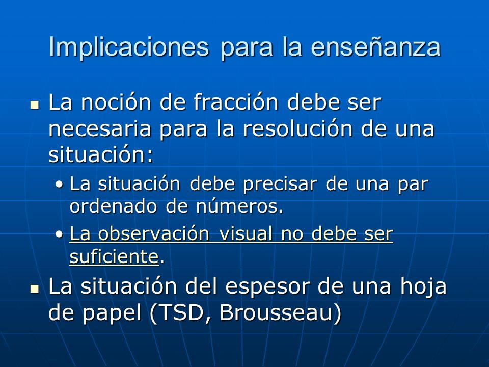 Implicaciones para la enseñanza La noción de fracción debe ser necesaria para la resolución de una situación: La noción de fracción debe ser necesaria