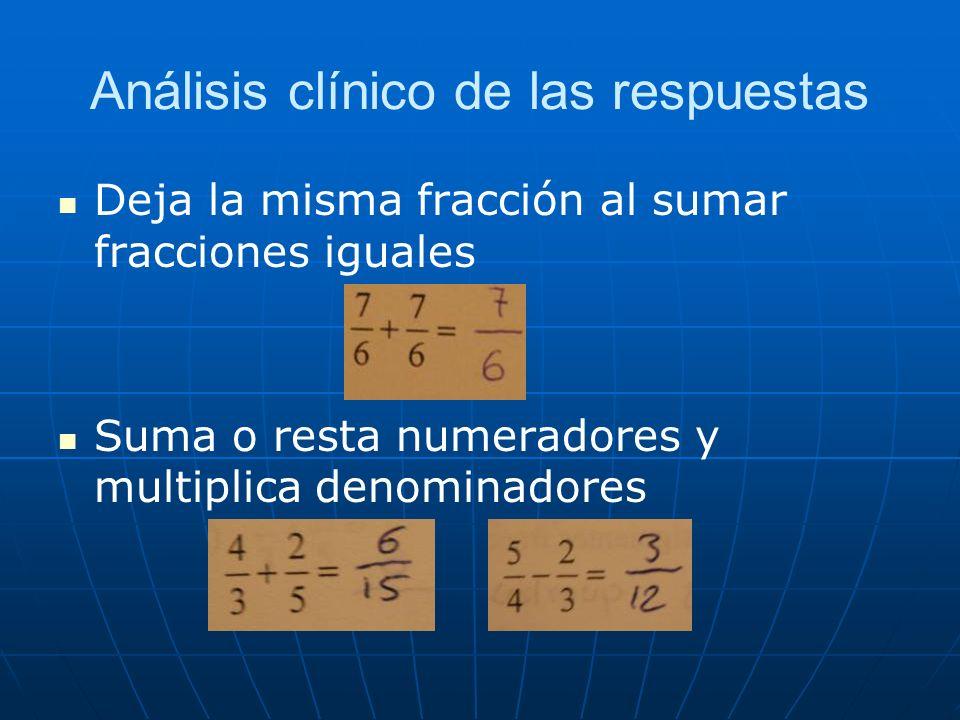 Análisis clínico de las respuestas Deja la misma fracción al sumar fracciones iguales Suma o resta numeradores y multiplica denominadores