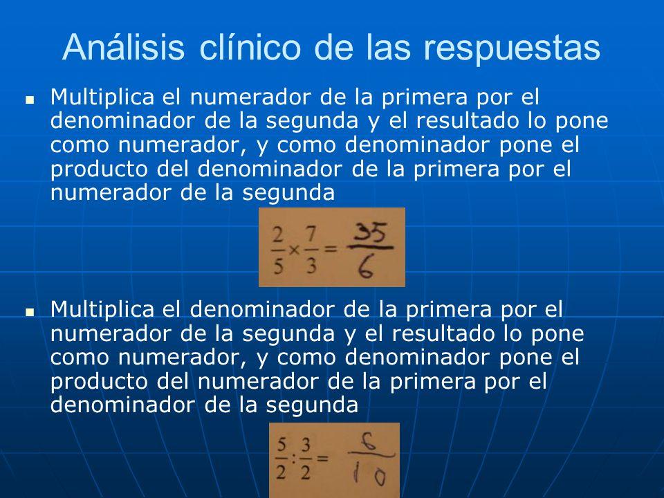 Análisis clínico de las respuestas Multiplica el numerador de la primera por el denominador de la segunda y el resultado lo pone como numerador, y com