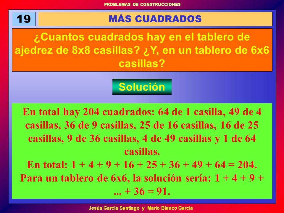 PROBLEMAS DE CONSTRUCCIONES Jesús García Santiago y Mario Blanco García 19 MÁS CUADRADOS ¿Cuantos cuadrados hay en el tablero de ajedrez de 8x8 casill