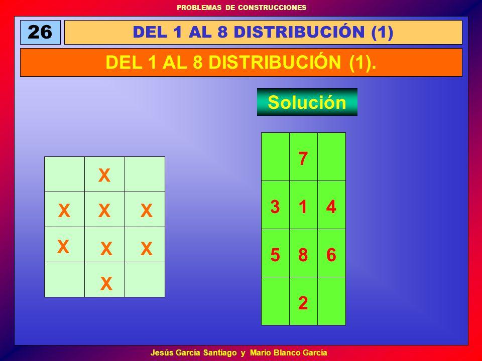 PROBLEMAS DE CONSTRUCCIONES Jesús García Santiago y Mario Blanco García 26 DEL 1 AL 8 DISTRIBUCIÓN (1) DEL 1 AL 8 DISTRIBUCIÓN (1). Solución X X X XX