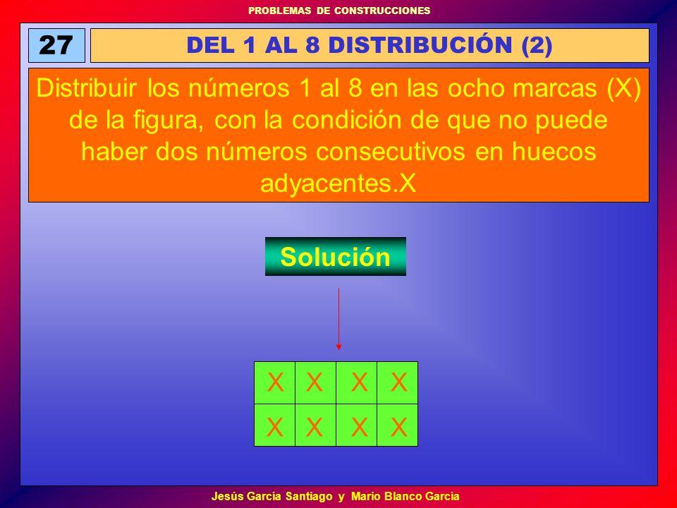 PROBLEMAS DE CONSTRUCCIONES Jesús García Santiago y Mario Blanco García 27 DEL 1 AL 8 DISTRIBUCIÓN (2) Distribuir los números 1 al 8 en las ocho marca