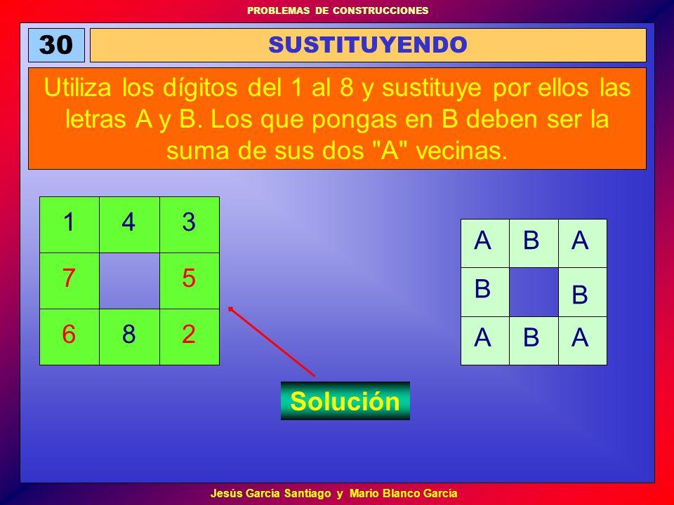 PROBLEMAS DE CONSTRUCCIONES Jesús García Santiago y Mario Blanco García 30 SUSTITUYENDO Utiliza los dígitos del 1 al 8 y sustituye por ellos las letra