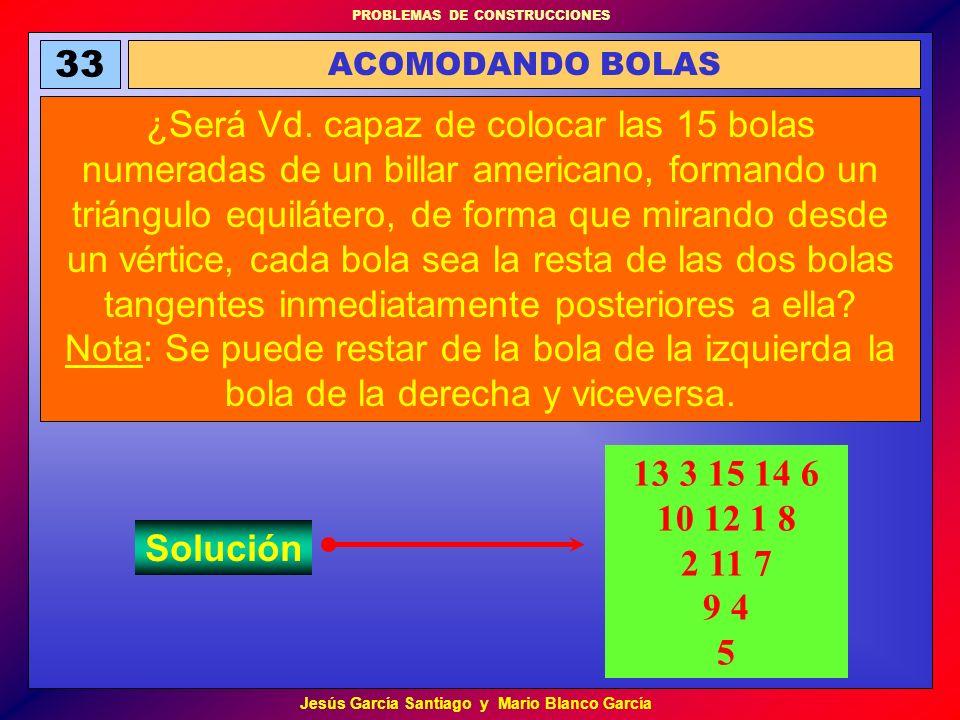 PROBLEMAS DE CONSTRUCCIONES Jesús García Santiago y Mario Blanco García 33 ACOMODANDO BOLAS ¿Será Vd. capaz de colocar las 15 bolas numeradas de un bi