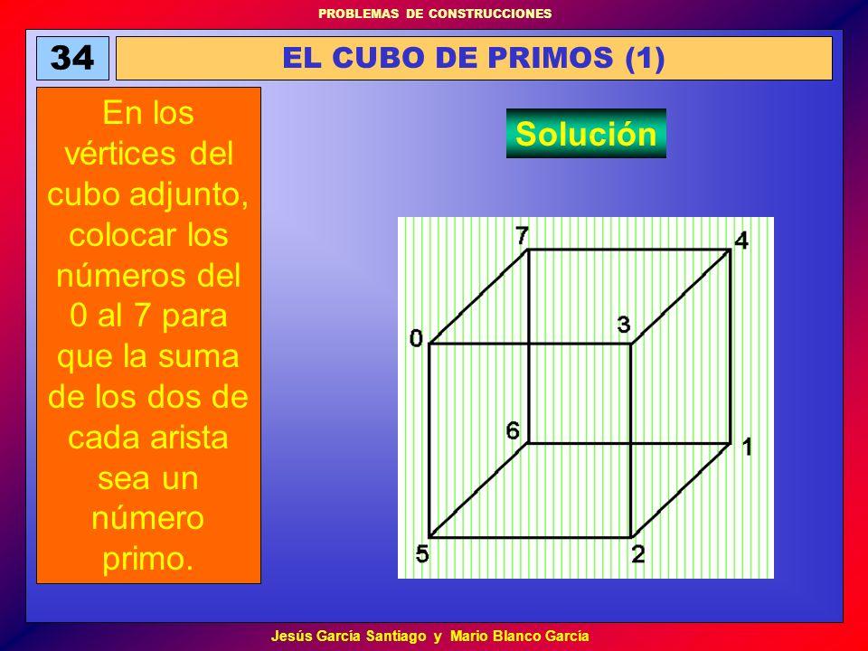 PROBLEMAS DE CONSTRUCCIONES Jesús García Santiago y Mario Blanco García 34 EL CUBO DE PRIMOS (1) En los vértices del cubo adjunto, colocar los números