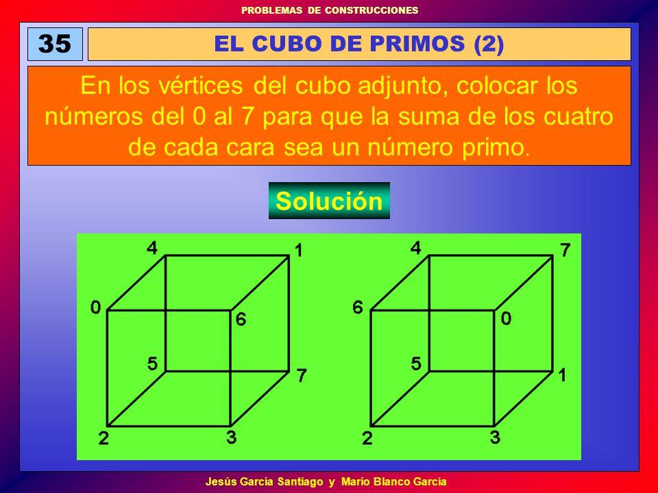 PROBLEMAS DE CONSTRUCCIONES Jesús García Santiago y Mario Blanco García 35 EL CUBO DE PRIMOS (2) En los vértices del cubo adjunto, colocar los números