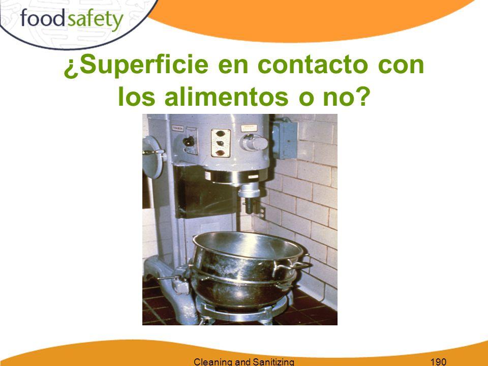Cleaning and Sanitizing190 ¿Superficie en contacto con los alimentos o no?