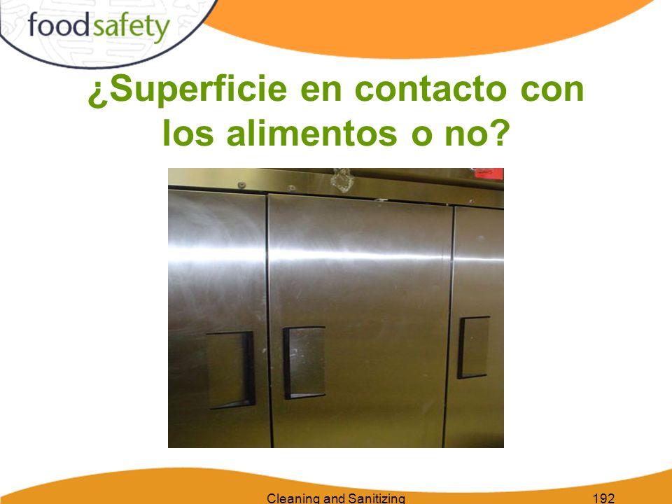 Cleaning and Sanitizing192 ¿Superficie en contacto con los alimentos o no?