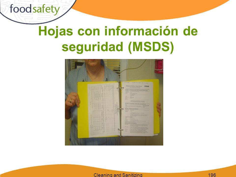 Cleaning and Sanitizing196 Hojas con información de seguridad (MSDS)