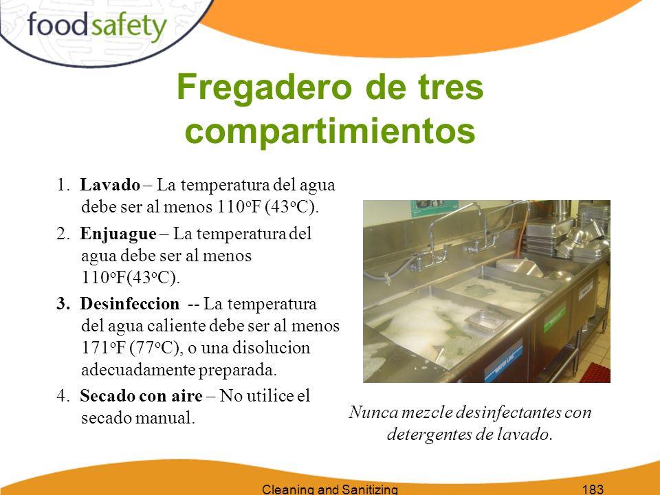 Cleaning and Sanitizing183 Fregadero de tres compartimientos 1. Lavado – La temperatura del agua debe ser al menos 110 o F (43 o C). 2. Enjuague – La