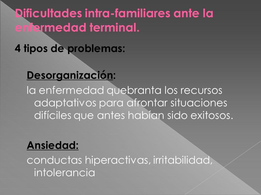 Dificultades intra-familiares ante la enfermedad terminal. 4 tipos de problemas: Desorganización: la enfermedad quebranta los recursos adaptativos par