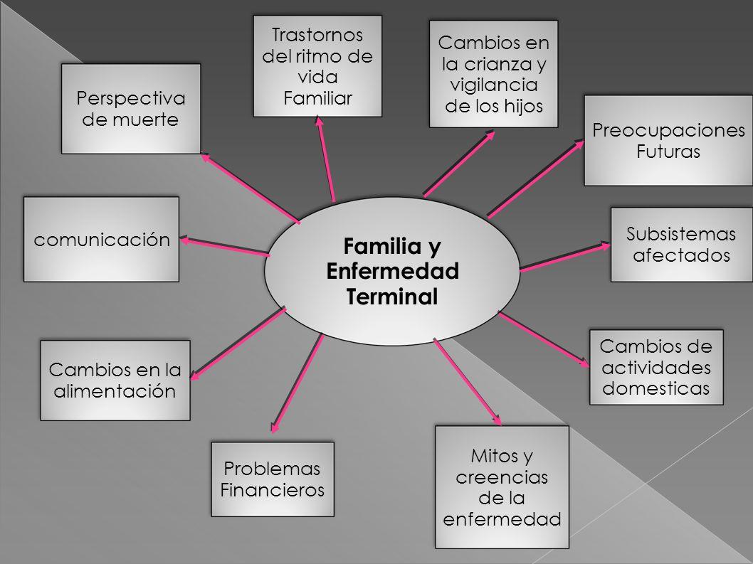 Familia y Enfermedad Terminal Perspectiva de muerte Trastornos del ritmo de vida Familiar Cambios en la crianza y vigilancia de los hijos Preocupacion