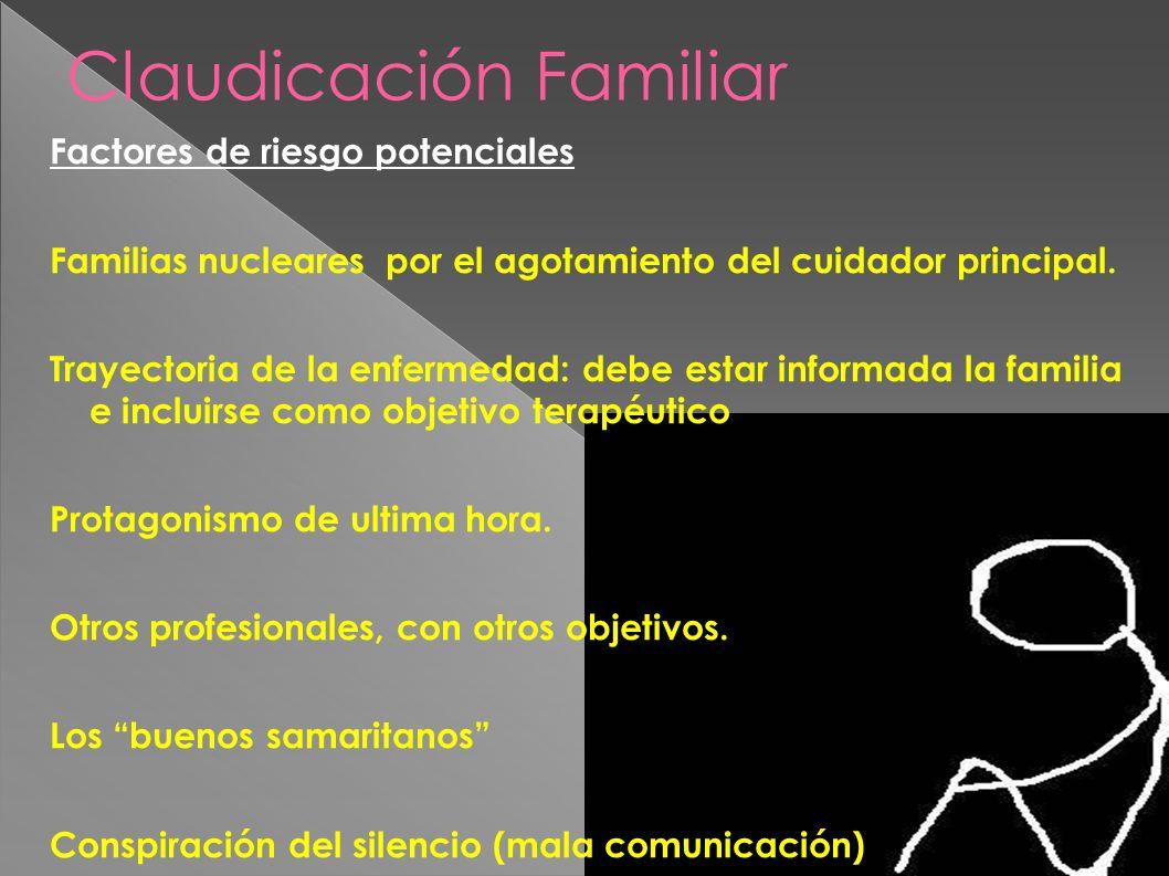 Claudicación Familiar Factores de riesgo potenciales Familias nucleares por el agotamiento del cuidador principal. Trayectoria de la enfermedad: debe
