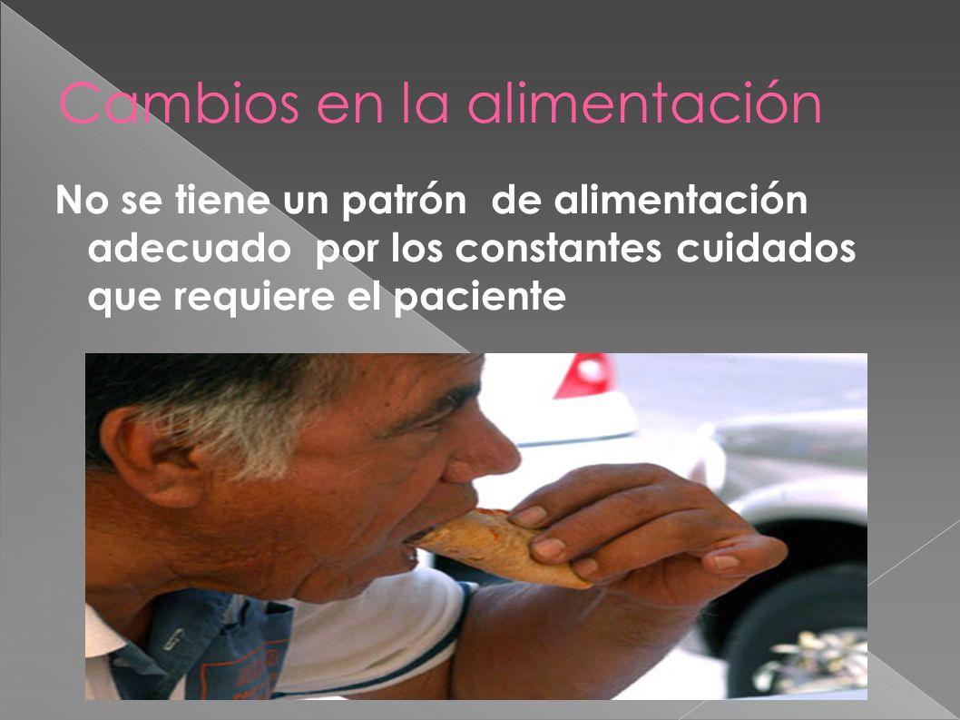 Cambios en la alimentación No se tiene un patrón de alimentación adecuado por los constantes cuidados que requiere el paciente