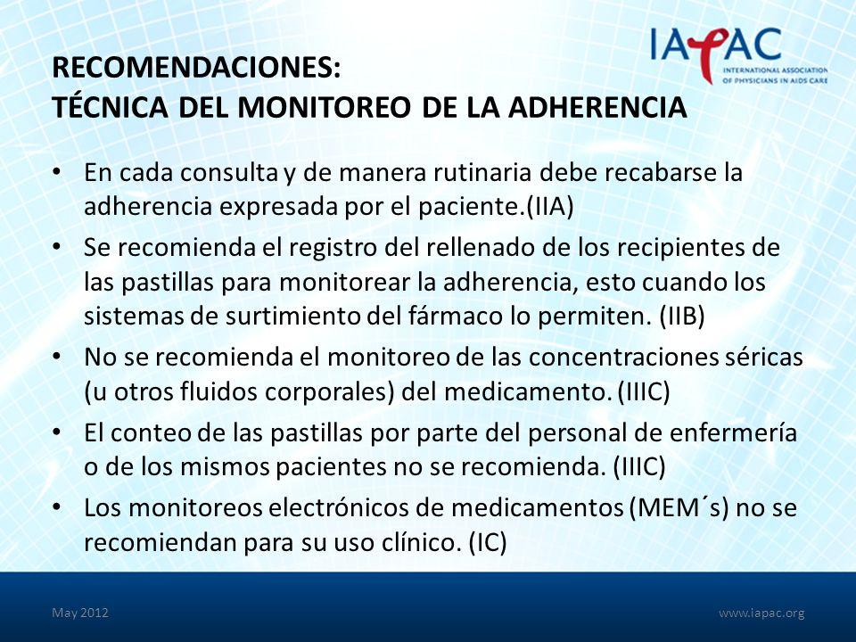RECOMENDACIONES: TÉCNICA DEL MONITOREO DE LA ADHERENCIA En cada consulta y de manera rutinaria debe recabarse la adherencia expresada por el paciente.(IIA) Se recomienda el registro del rellenado de los recipientes de las pastillas para monitorear la adherencia, esto cuando los sistemas de surtimiento del fármaco lo permiten.